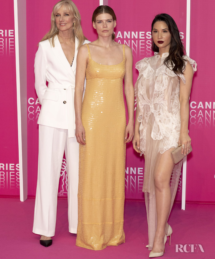 Joely Richardson, Emma Greenwell and Olivia Munn attend day four of the 2nd Canneseries International Series Festival, on April 08, 2019 in Cannes, France.