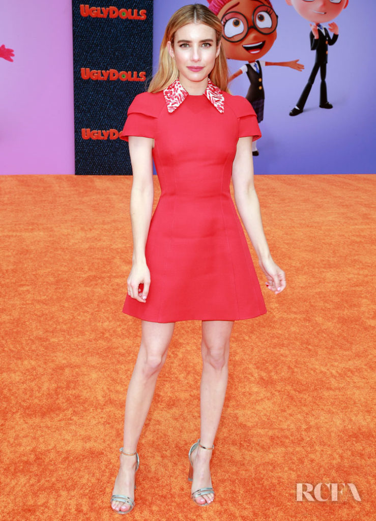 Emma Roberts Little Red Dress For The Uglydolls La Premiere Red Carpet Fashion Awards