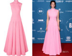 Gemma Arterton's Emilia Wickstead Open-Back Cloqué Gown