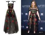 Josephine Langford's Elie Saab Rose-Embroidered Tulle Gown