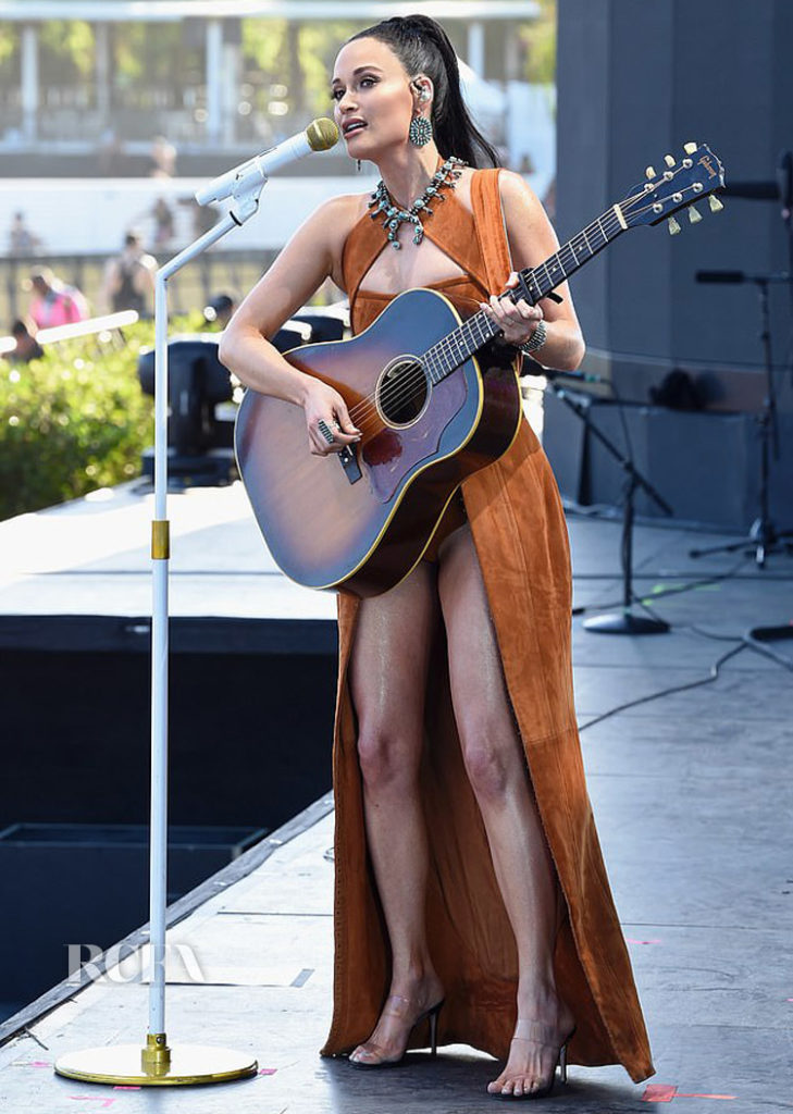 Kacey Musgraves in suede Balmain Performing on weekend 2 of Coachella