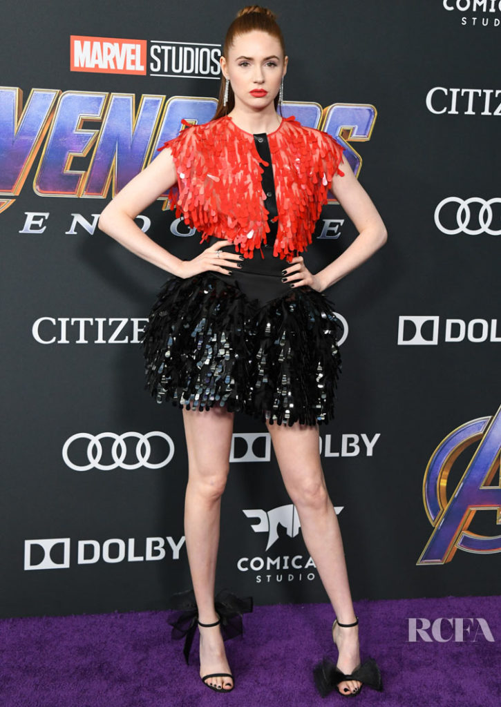 Karen Gillan Red Black Amp Futuristic At The Avengers