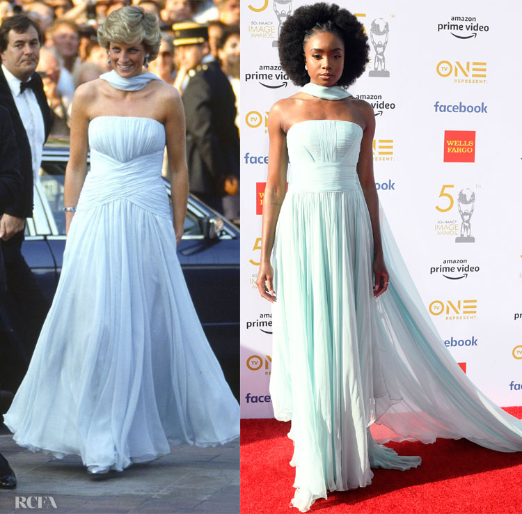 Lady Diana in Catherine Walker and Kiki Layne in Georges Chakra Couture