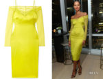 Lais Ribeiro's Cushnie Cold-Shoulder Dress