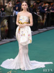 Lily Collins Striking Floral Print Gown For 'Tolkien' London Premiere
