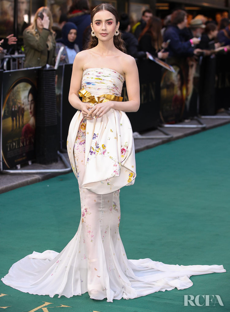 Lily Collins Giambattista Valli Haute Couture - 'Tolkien' London Premiere
