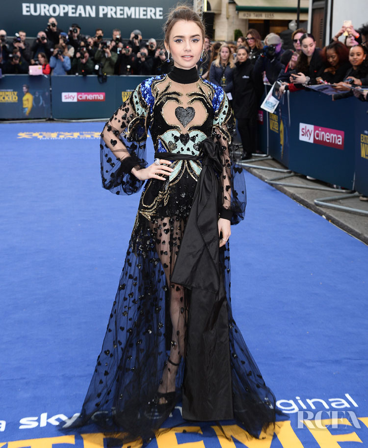 Lily Collins In Elie Saab - 'Extremely Wicked, Shockingly Evil And Vile' London Premiere.jpg