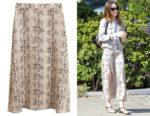 Lily Collins' MANGO Snake Print Skirt