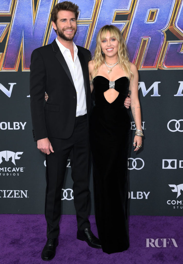 Miley Cyrus and Liam Hemsworth Match In Black Saint Laurent For The 'Avengers: Endgame' LA Premiere