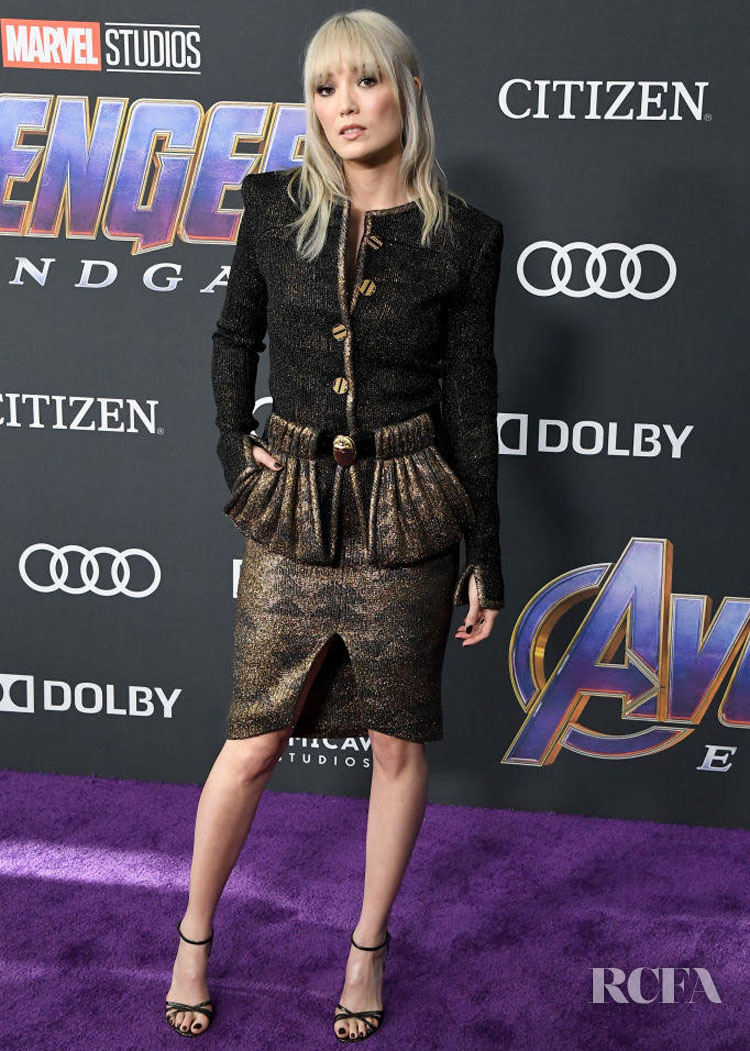 Pom Klementieff Wears Fantasy Tweed To The 'Avengers: Endgame' LA Premiere