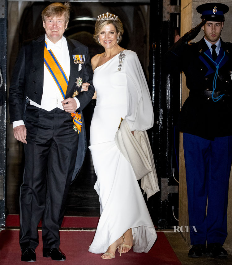Queen Maxima of The Netherlands In Stella McCartney - Royal Palace after the annual gala diner for the Diplomatic Corps on April 09, 2019 in Amsterdam, Netherlands