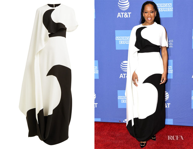 Regina King's Valentino Moon-Print Asymmetric Cape Dress
