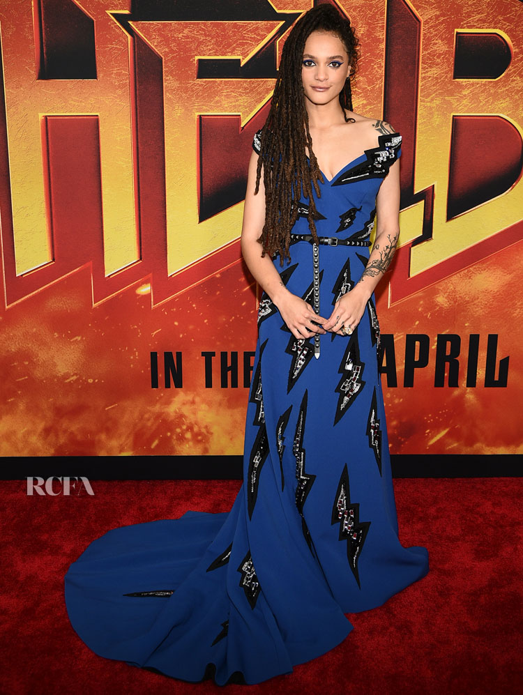 Sasha Lane's Thunderbolt From The Blue 'Hellboy' New York Premiere Gown