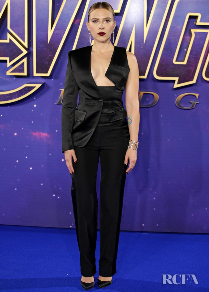 Scarlett Johansson Rocks A Tuxedo With A Twist For The Avengers Endgame Fan Event Red Carpet Fashion Awards