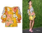 Shanina Shaik's Carolina Herrera Floral-Print Mini Dress