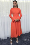 Zoe Saldana Breaks From Black To Wear Orange For 'Missing Link' LA Photocall