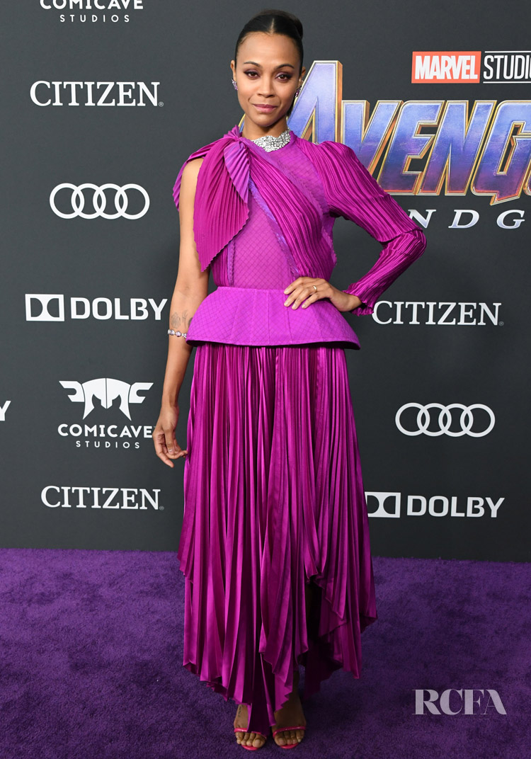 Zoe Saldana's Pleated Perfection For The 'Avengers: Endgame' LA Premiere