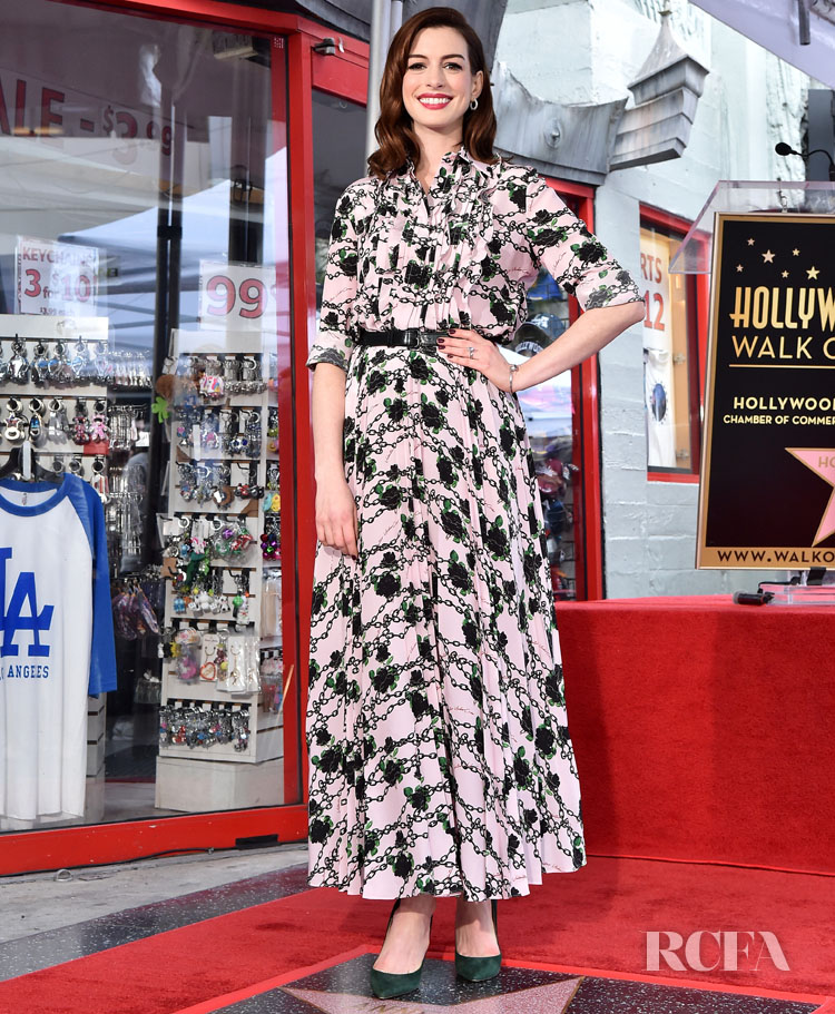Anne Hathaway Is Honored With A Star On The Hollywood Walk of Fame in Valentino