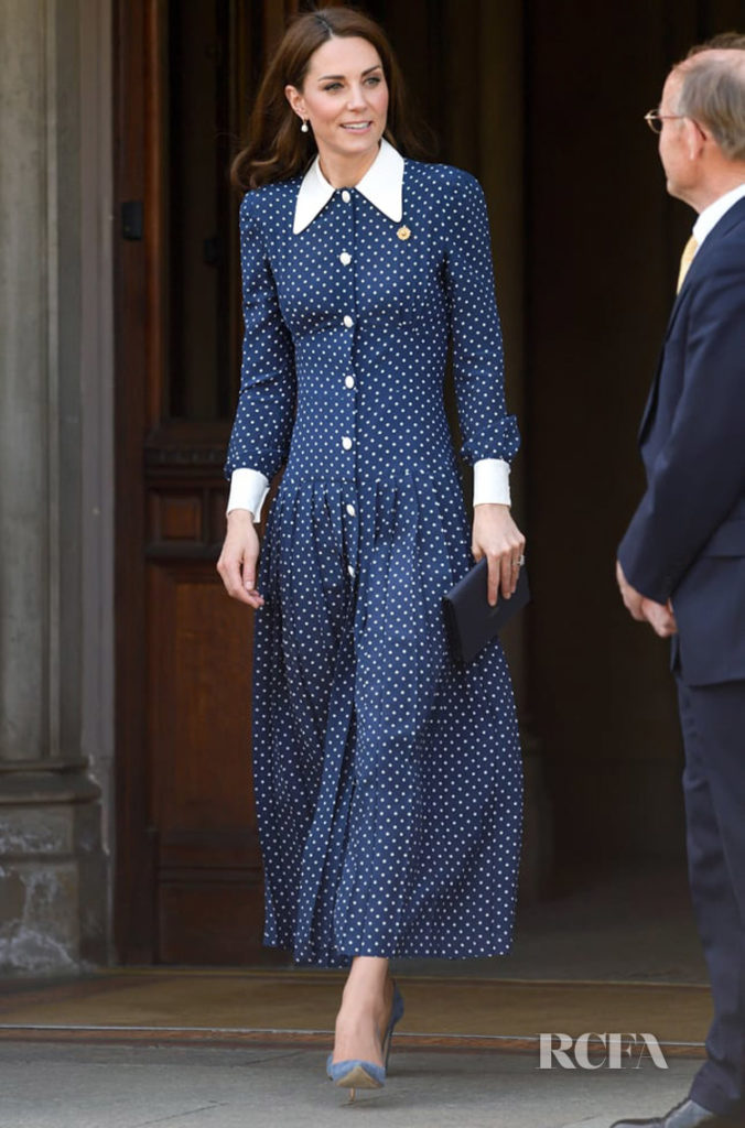 Catherine, Duchess of Cambridge Recycles Her  Alessandra Rich Polka Dot Dress for Her Bletchley Park Visit