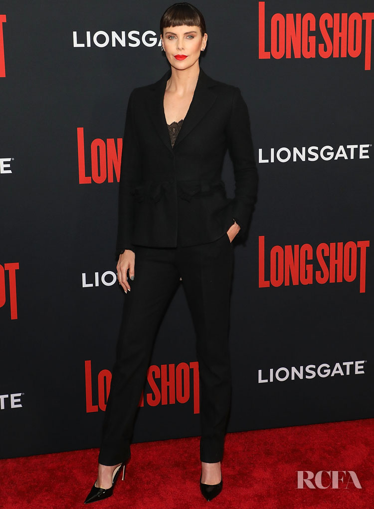 Charlize Theron In Dior Haute Couture -  'Long Shot' New York Premiere