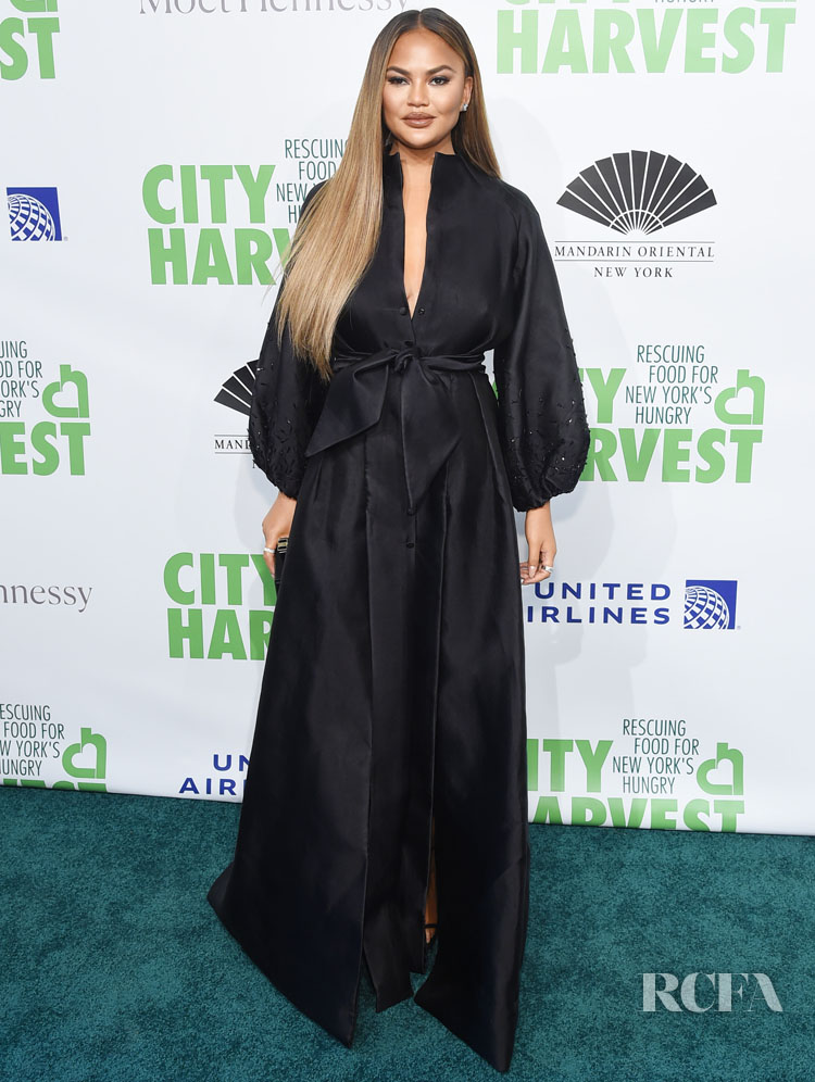 Chrissy Teigen Sets A New Style Standard in AZZI & OSTA Spring 2019 At The 2019 City Harvest Gala