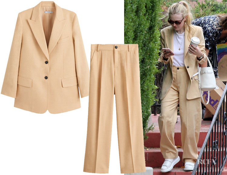 Dakota Fanning's MANGO Wool Suit Blazer & Pants
