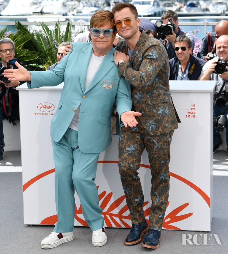 Elton John In Gucci & Taron Egerton In Etro - 'Rocketman' Cannes Film Festival Photocall