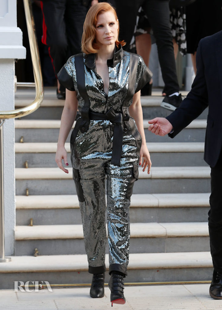 Jessica Chastain's Sequin Jumpsuit For The Graham Norton Show