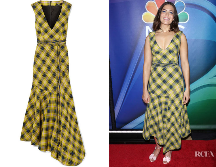 Mandy Moore's Derek Lam Asymmetric Checked Dress