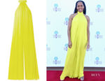 Regina King's Cushnie Open-Back Jumpsuit