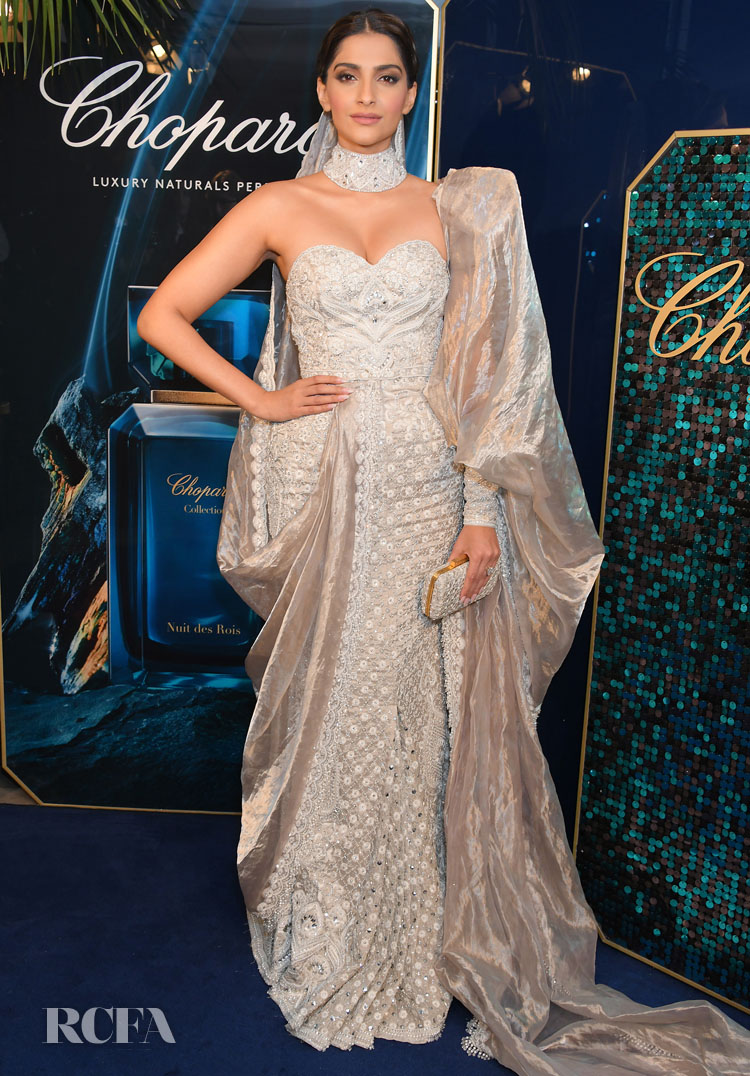 Sonam Kapoor In Abu Jani Sandeep Khosla Couture - Chopard Parfums 'La Nuit Des Rois' Dinner Party