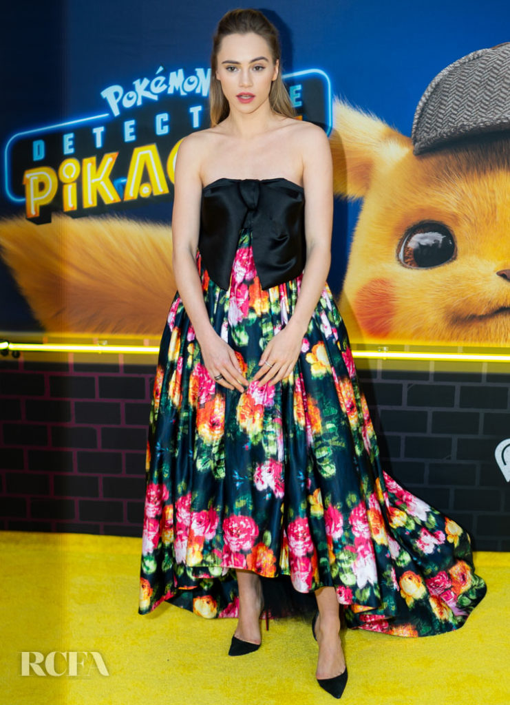 Suki Waterhouse Goes Floral In Richard Quinn For The 'Pokeman Detective Pikachu' New York Premiere