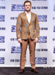 Taron Egerton Rocks A Eye-Catching Paisley Blazer For 'Rocketman' Seoul Premiere
