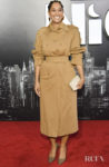 Tracee Ellis Ross'  Contemporary Camel Coat For The 'Late Night' LA Premiere