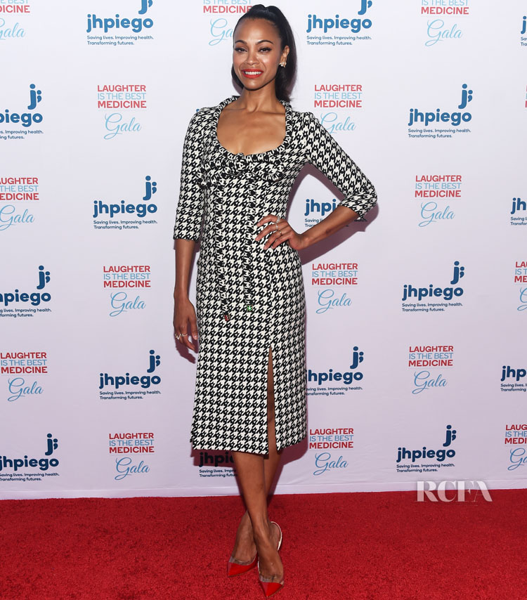 Zoe Saldana Highlights Houndstooth in Area Fall 2019, For Jhpiego's Los Angeles Gala