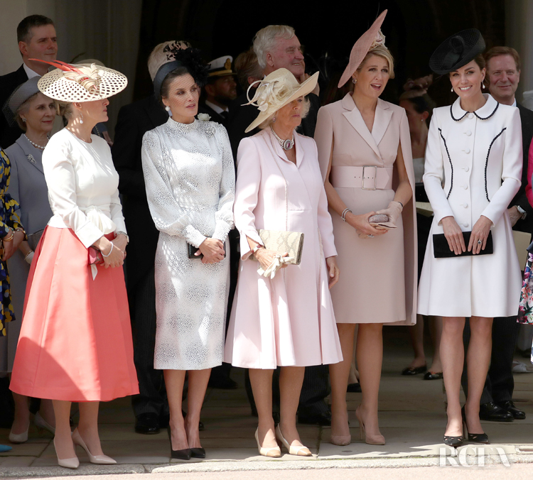 Sophie, Countess of Wessex, Queen Letizia of Spain, Camilla, Duchess of Cornwall, Queen Maxima of the Netherlands and Catherine, Duchess of Cambridge at the Order of the Garter Service at St George's Chapel in Windsor Castle on June 17, 2019 in Windsor, England.