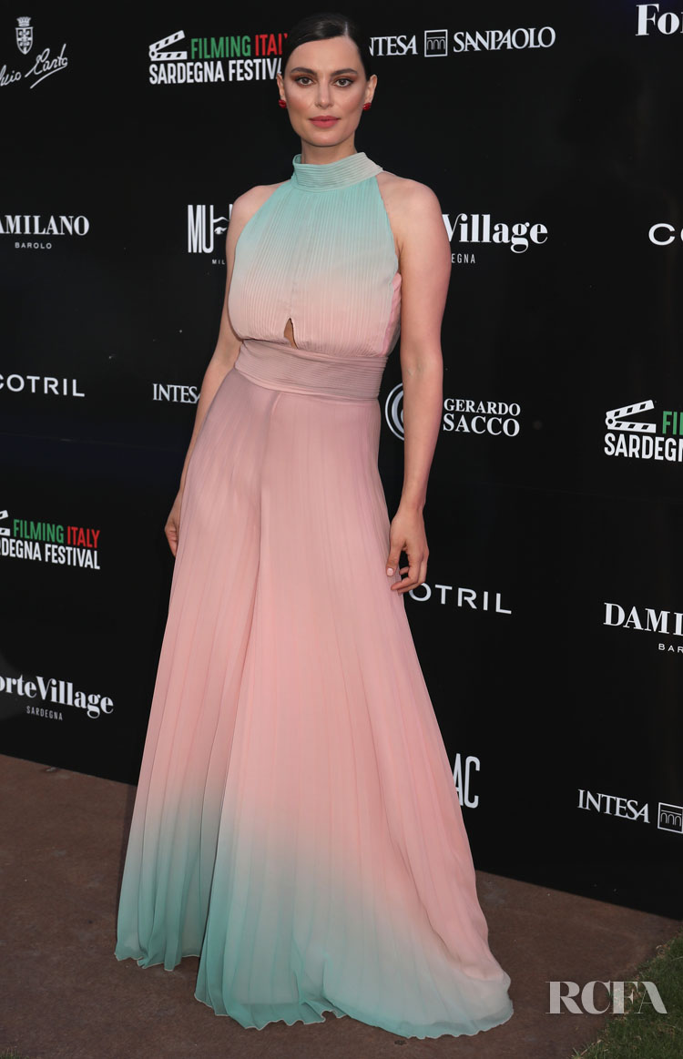 Catrinel Marlon's Ombre Jumpsuit For Filming Italy Sardegna Festival 2019