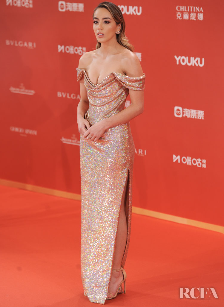 Chloe Bennet's Rose Golden Glow For The Shanghai Film Festival Closing Ceremony