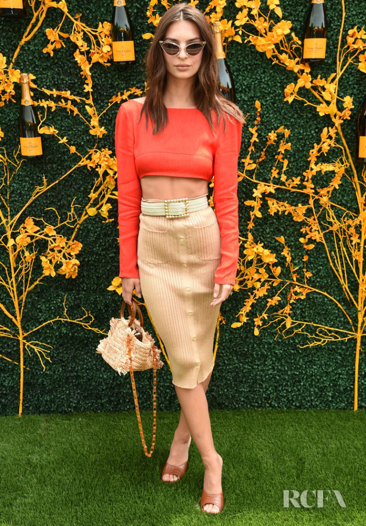 Emily Ratajkowski Flashes A Bit Of Skin For The Veuve Clicquot Polo Classic