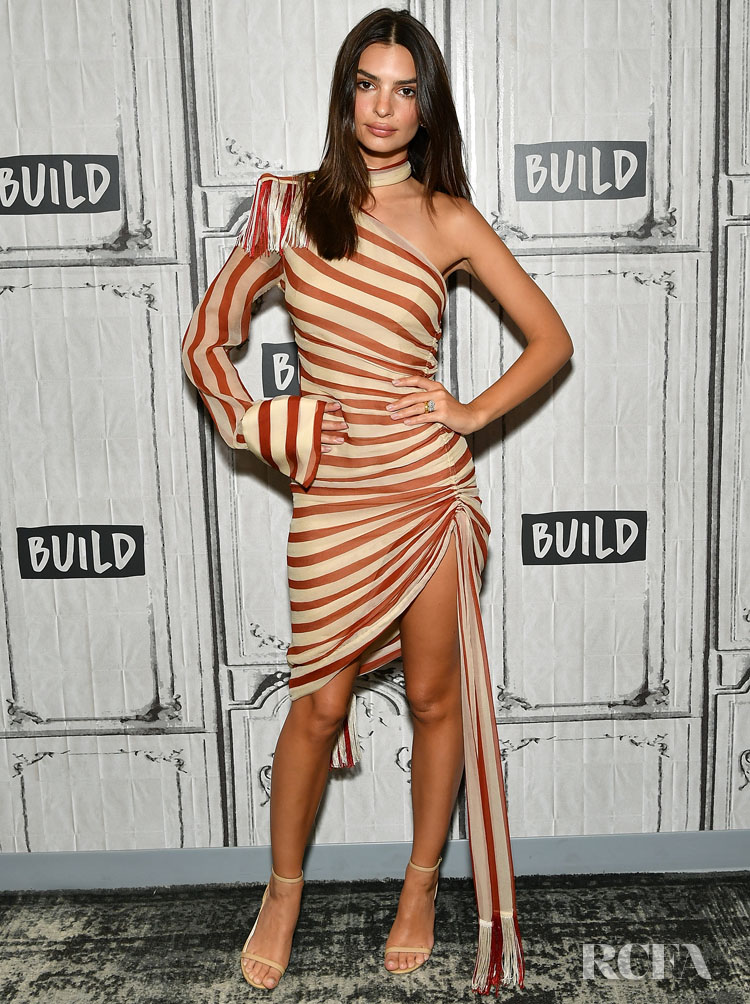 Emily Ratajkowski Rocks A Half, Striped Shirt Dress For Build Series
