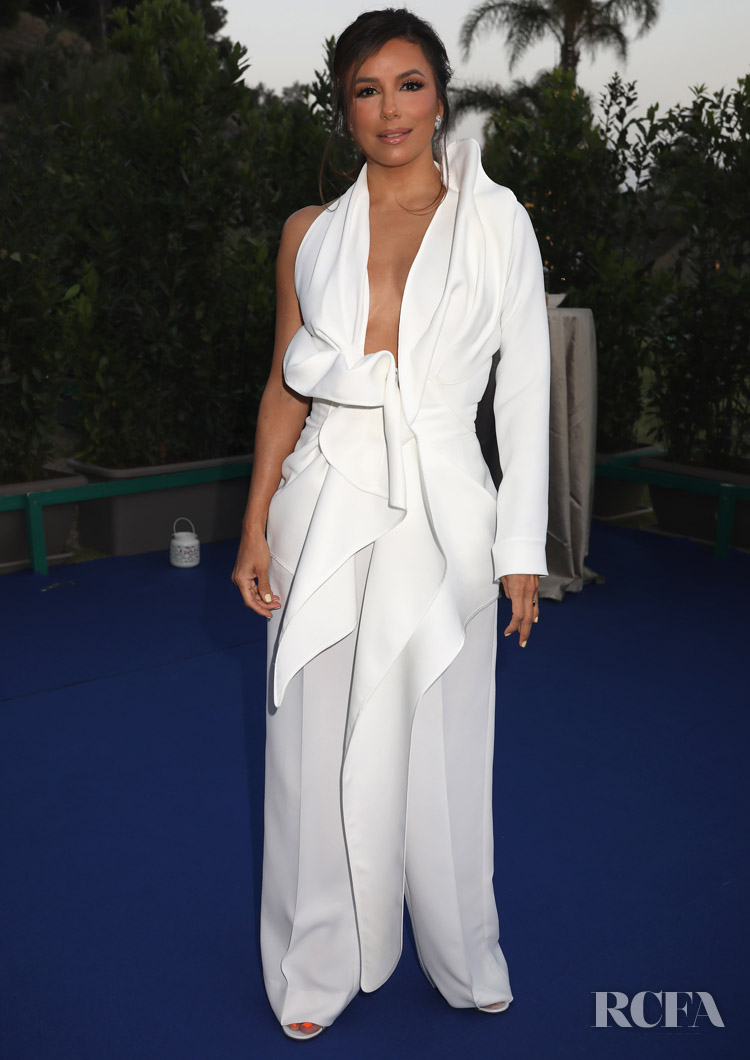 Eva Longoria's All White Look For Filming Italy Sardegna Festival 2019