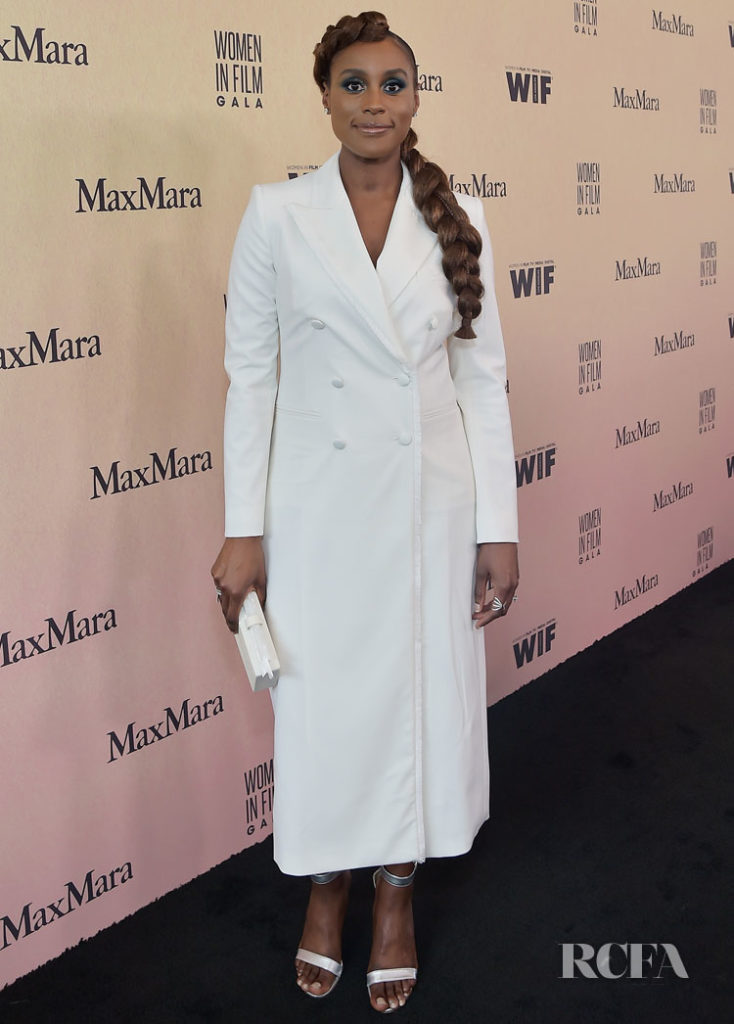 Issa Rae, wearing Max Mara, attends the 2019 Women In Film Annual Gala Presented by Max Mara with additional support from partners Delta Air Lines and Lexus at The Beverly Hilton on June 12, 2019 in Beverly Hills, California.