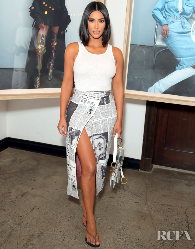 Kim Kardashian Channels Her Inner Carrie Bradshaw In Vintage Dior Newspaper Print At A Levi Event