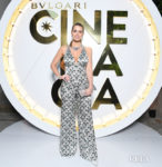 Lady Kitty Spencer Complements Her Bvlgari Jewels With Her Patterned Jumpsuit For The Bvlgari High Jewelry Exhibition