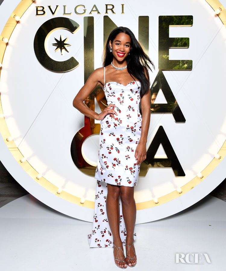 Laura Harrier's Rocks A Rose Print Dress For The Bvlgari High Jewelry Exhibition