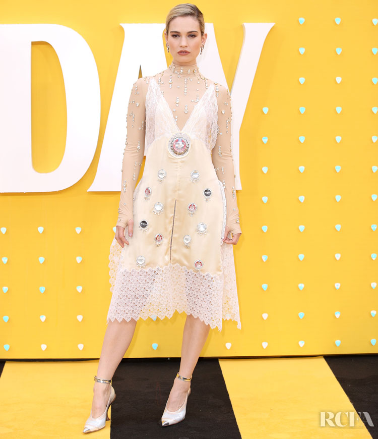 Lily James Wears A Bottle Top & Lace Accented Dress For The 'Yesterday' London Premiere