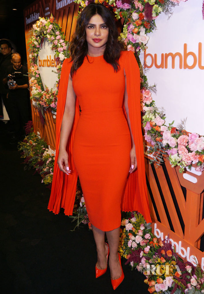 Priyanka Chopra Goes Matchy In Orange Alex Perry Resort 2019 For The Bumble Launch Event