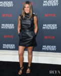 Jennifer Aniston Rocks Two Black Dresses While Promoting 'Murder Mystery'