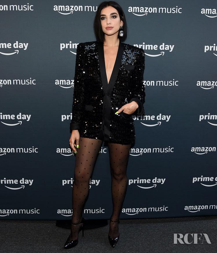 Dua Lipa Rocks A Black Dazzling Mini For The 2019 Amazon Prime Day Concert