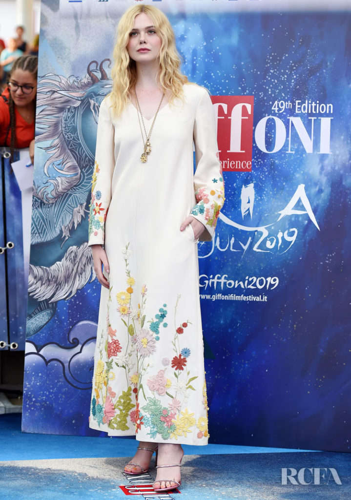 Elle Fanning's Channels Boho Elegance in Valentino For Giffoni Film Festival